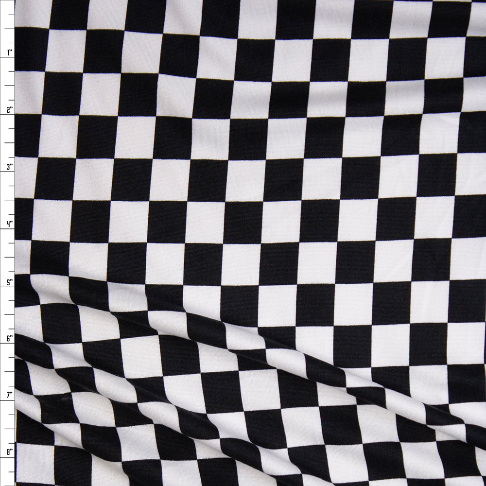 Black and White Checkered Double Brushed Poly Spandex Fabric By The Yard