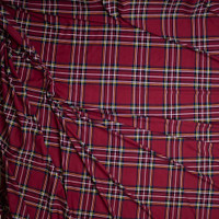 Red, Black, White, Yellow, and Blue Plaid Double Brushed Poly Spandex Fabric By The Yard - Wide shot