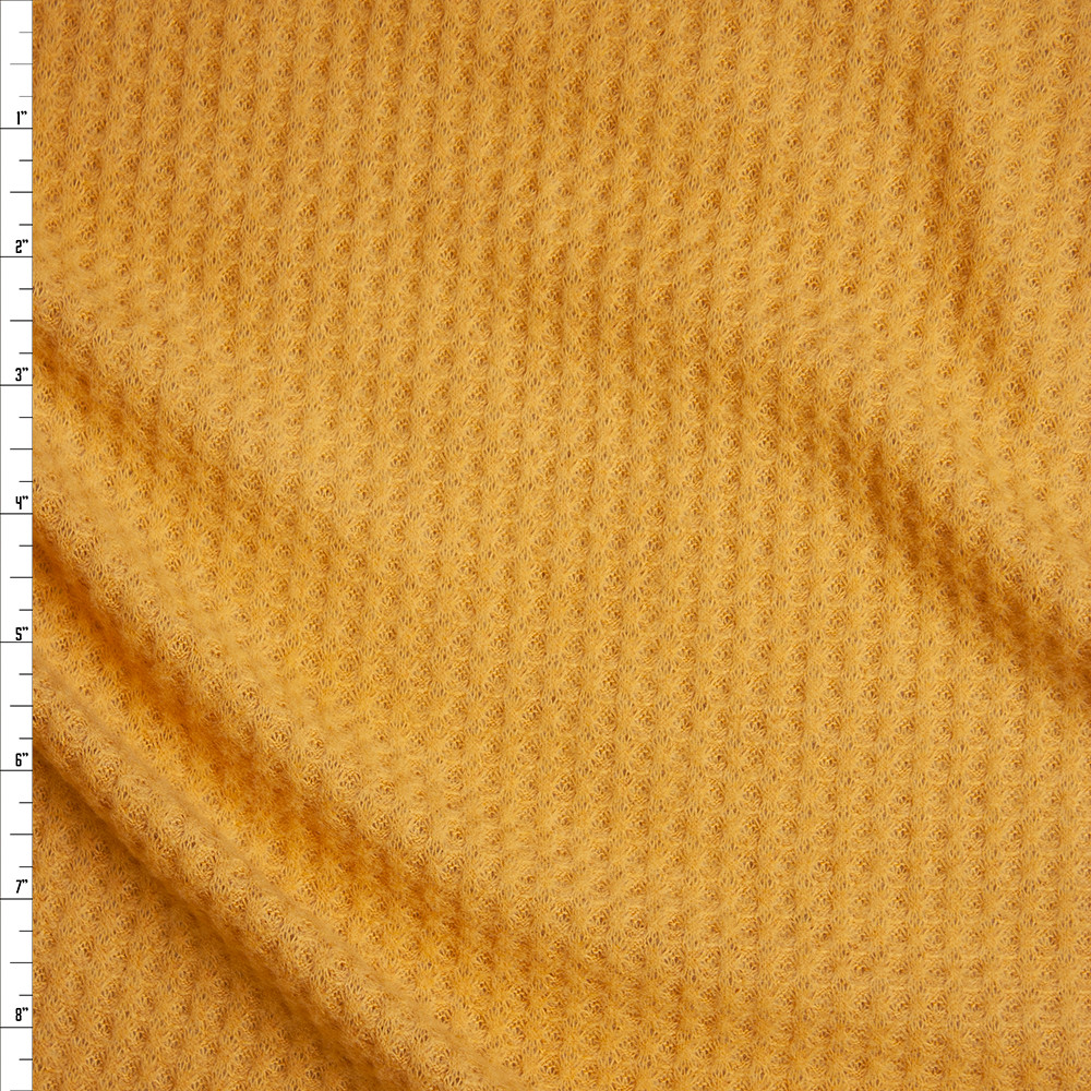 Goldenrod Yellow Brushed Soft Rayon Waffle Sweater Knit Fabric By The Yard