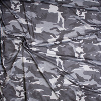 Black and Grey Camouflage Print Lightweight French Terry Fabric By The Yard - Wide shot