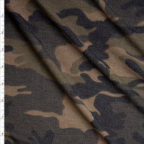 Olive, Tan, Black, and Brown Camouflage Loop Printed Lightweight French Terry Fabric By The Yard