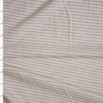 Grey on Ivory Horizontal Stripe Organic Cotton/Bamboo Jersey Knit Fabric By The Yard
