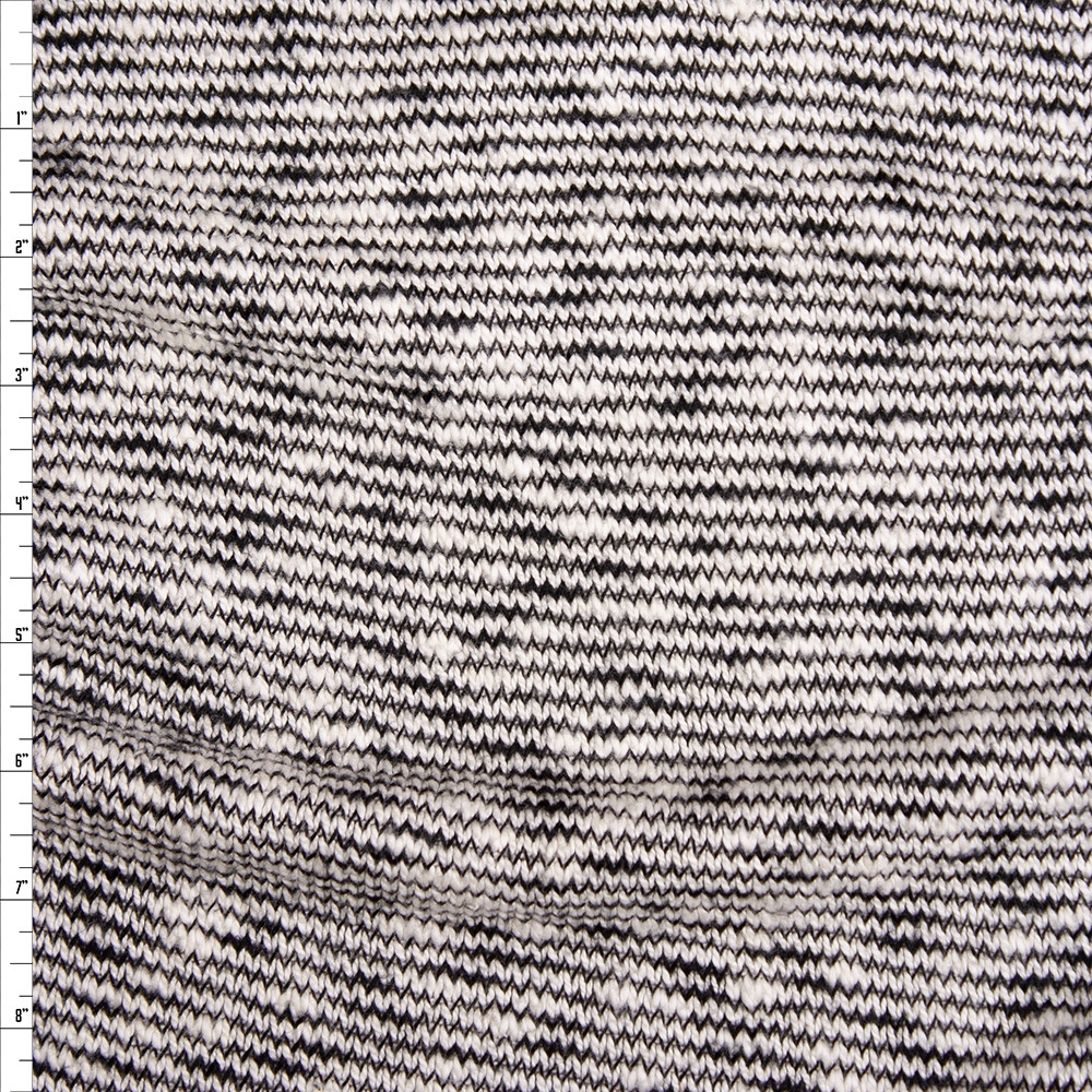 Black and Offwhite Stripe Organic Cotton/Tencel Midweight Sweater Knit Fabric By The Yard