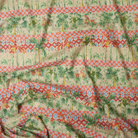 Red, Tan, Orange, and Green Island Stripe Fine Cotton Lawn from 'Tori Richards' Fabric By The Yard - Wide shot