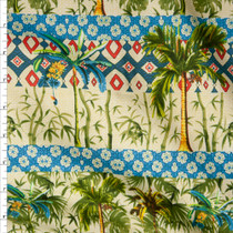 Teal, Tan, Turquoise, and Green Island Stripe Fine Cotton Lawn from 'Tori Richards' Fabric By The Yard