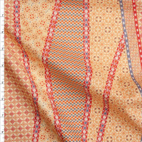 Red, Slate, and Rust on Butter Yellow Geometric Fine Cotton Lawn from 'Tori Richards' Fabric By The Yard