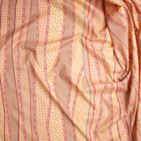 Red, Slate, and Rust on Butter Yellow Geometric Fine Cotton Lawn from 'Tori Richards' Fabric By The Yard - Wide shot