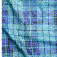 Black Paisley Pattern on Aqua and Periwinkle Plaid Fine Cotton Lawn from 'Tori Richards' Fabric By The Yard