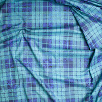 Black Paisley Pattern on Aqua and Periwinkle Plaid Fine Cotton Lawn from 'Tori Richards' Fabric By The Yard - Wide shot