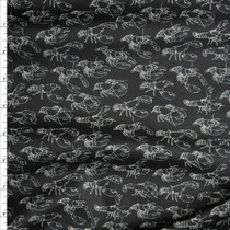 Offwhite Lobsters on Black Fine Cotton Lawn from 'Tori Richards' Fabric By The Yard