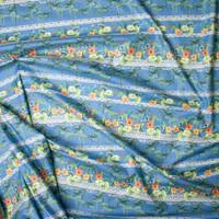 Blue Island Foliage Tribal Stripe Fine Cotton Lawn from 'Tori Richards' Fabric By The Yard - Wide shot