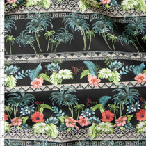 Black Island Foliage Tribal Stripe Fine Cotton Lawn from 'Tori Richards' Fabric By The Yard