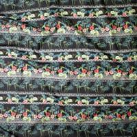 Black Island Foliage Tribal Stripe Fine Cotton Lawn from 'Tori Richards' Fabric By The Yard - Wide shot