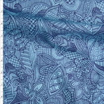 Navy and Aqua Patchwork Pattern Floral Fine Cotton Lawn from 'Tori Richards' Fabric By The Yard