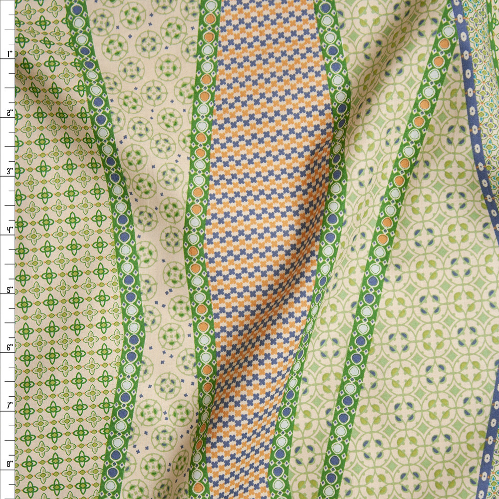 Lime, Orange, and Slate Blue on Butter Yellow Geometric Fine Cotton Lawn from 'Tori Richards' Fabric By The Yard