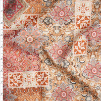 Red, Orange, Black, and Ivory Ornate Tiled Pattern Fine Cotton Lawn from 'Tori Richards' Fabric By The Yard