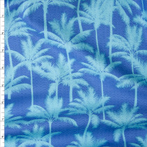 Aqua Palms on Blue, with Micro Waves Fine Cotton Lawn from 'Tori Richards' Fabric By The Yard