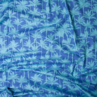 Aqua Palms on Blue, with Micro Waves Fine Cotton Lawn from 'Tori Richards' Fabric By The Yard - Wide shot