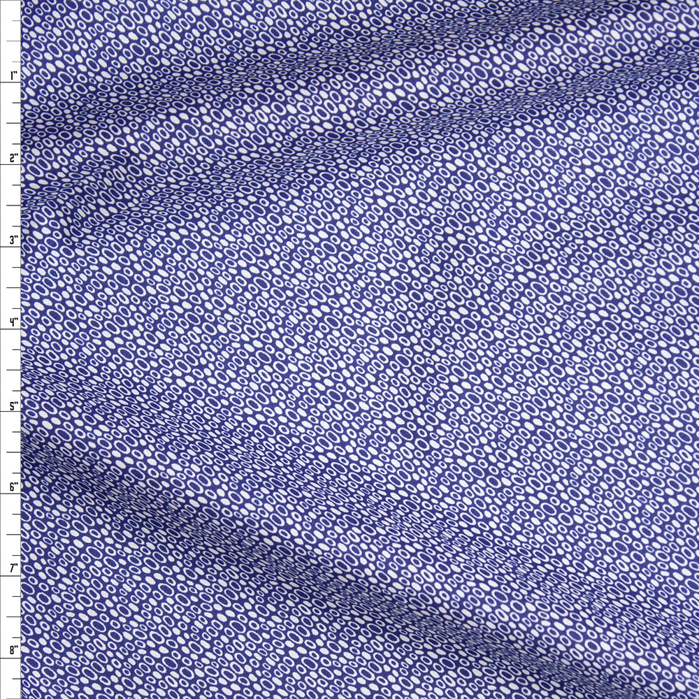 Offwhite Circles and Spots on Blue Fine Cotton Lawn from 'Tori Richards' Fabric By The Yard