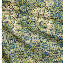 Green, Teal, and Black Ornate Geometric Pattern Fine Cotton Lawn from 'Tori Richards' Fabric By The Yard