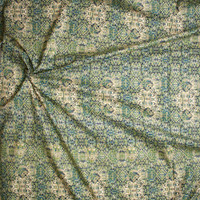 Green, Teal, and Black Ornate Geometric Pattern Fine Cotton Lawn from 'Tori Richards' Fabric By The Yard - Wide shot