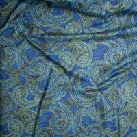 Lime and Turquoise Layered Paisley Print on Navy Fine Cotton Lawn from 'Tori Richards' Fabric By The Yard - Wide shot