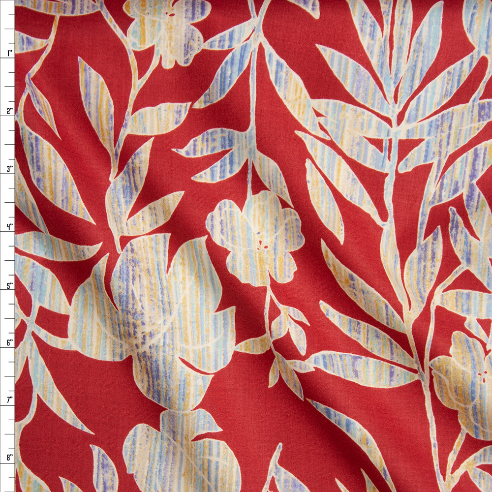 Blue, Yellow, and Ivory Island Floral on Red Fine Cotton Lawn from 'Tori Richards' Fabric By The Yard