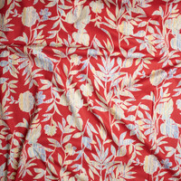 Blue, Yellow, and Ivory Island Floral on Red Fine Cotton Lawn from 'Tori Richards' Fabric By The Yard - Wide shot