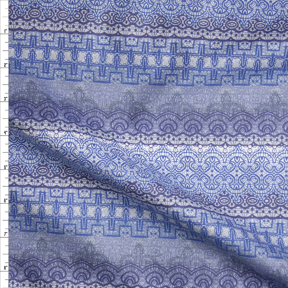 Blue and Grey Ornate Stripe Fine Cotton Lawn from 'Tori Richards' Fabric By The Yard