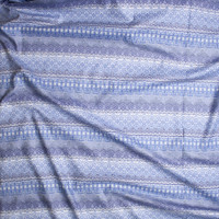 Blue and Grey Ornate Stripe Fine Cotton Lawn from 'Tori Richards' Fabric By The Yard - Wide shot