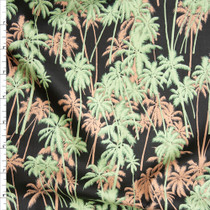Peach and Sage Palms on Black Fine Cotton Lawn from 'Tori Richards' Fabric By The Yard