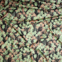 Peach and Sage Palms on Black Fine Cotton Lawn from 'Tori Richards' Fabric By The Yard - Wide shot