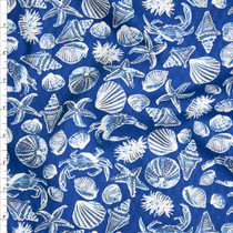 Midnight, Light Blue, and Ivory Seashells on Navy Blue Fine Cotton Jacquard from 'Tori Richards' Fabric By The Yard