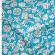 Tan and Ivory Seashells on Turquoise Fine Cotton Jacquard from 'Tori Richards' Fabric By The Yard