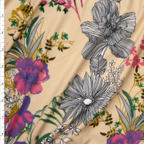Mixed Style Floral on Light Tan Double Brushed Poly Spandex Fabric By The Yard