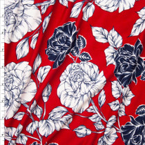 Navy and Offwhite Rose Floral on Red Double Brushed Poly Spandex Fabric By The Yard
