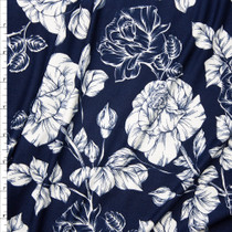 Offwhite and Navy Rose Floral Double Brushed Poly Spandex Fabric By The Yard