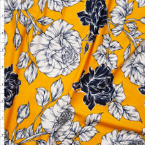 Offwhite and Navy rose Floral on Goldenrod Double Brushed Poly Spandex Fabric By The Yard
