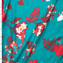 Red and Magenta Flowers on Teal Double Brushed Poly Spandex Fabric By The Yard