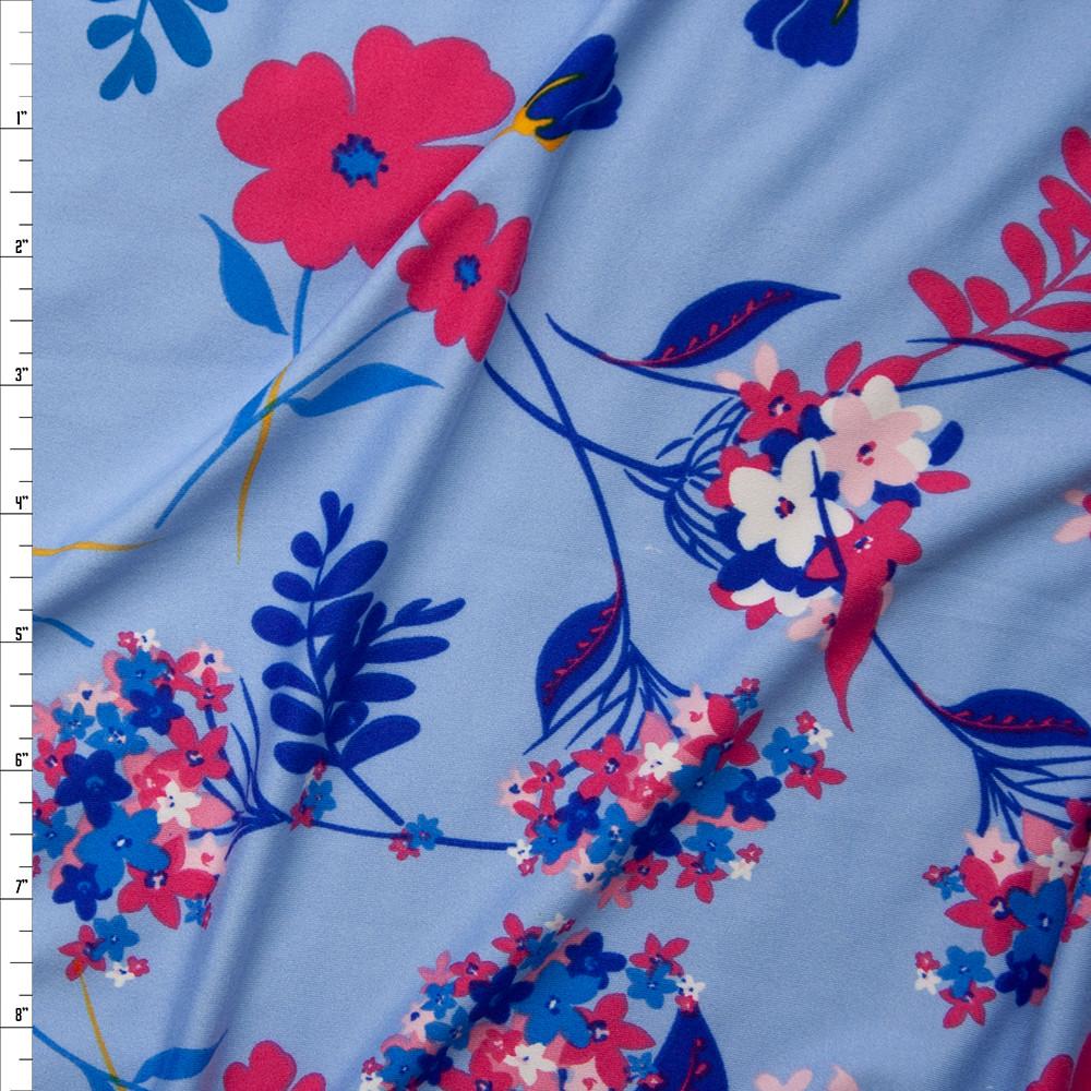 Cali fabrics hot pink and blue flowers on light blue double brushed hot pink and blue flowers on light blue double brushed poly spandex fabric by the yard izmirmasajfo
