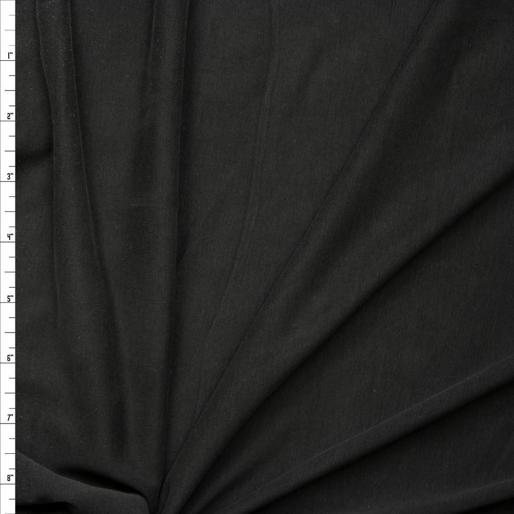 Black Brushed Poly/Modal Jersey Knit Fabric By The Yard