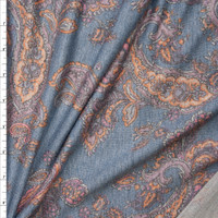 Peach and Dusty Rose Paisley on Heather Grey Lightweight Poly/Rayon French Terry Fabric By The Yard