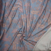 Peach and Dusty Rose Paisley on Heather Grey Lightweight Poly/Rayon French Terry Fabric By The Yard - Wide shot