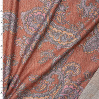 Orange, Pink, and Grey Paisley on Heather Burnt Orange Lightweight Poly/Rayon French Terry Fabric By The Yard