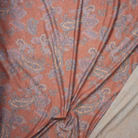 Orange, Pink, and Grey Paisley on Heather Burnt Orange Lightweight Poly/Rayon French Terry Fabric By The Yard - Wide shot