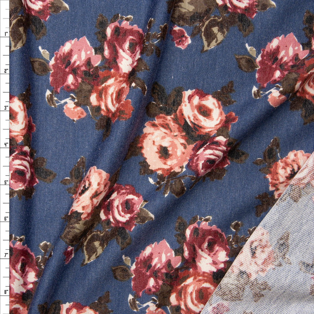 Rose Floral on Slate Blue Heather Lightweight Poly/Rayon French Terry Fabric By The Yard