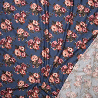 Rose Floral on Slate Blue Heather Lightweight Poly/Rayon French Terry Fabric By The Yard - Wide shot