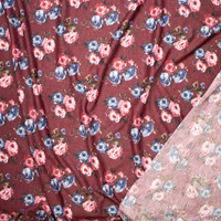 Rose Floral on Wine Lightweight Poly/Rayon French Terry Fabric By The Yard - Wide shot