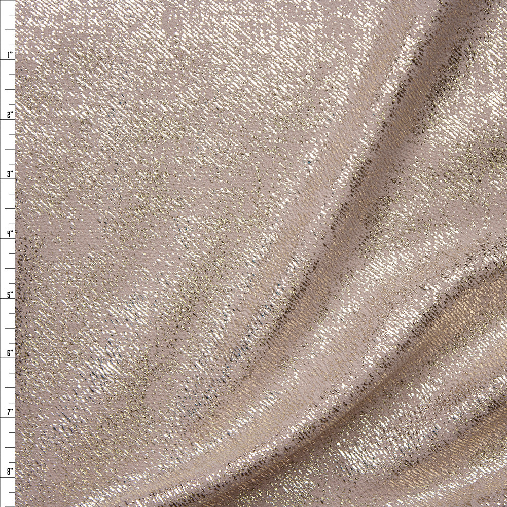 Gold Grunge on Light Tan Liverpool Knit Fabric By The Yard