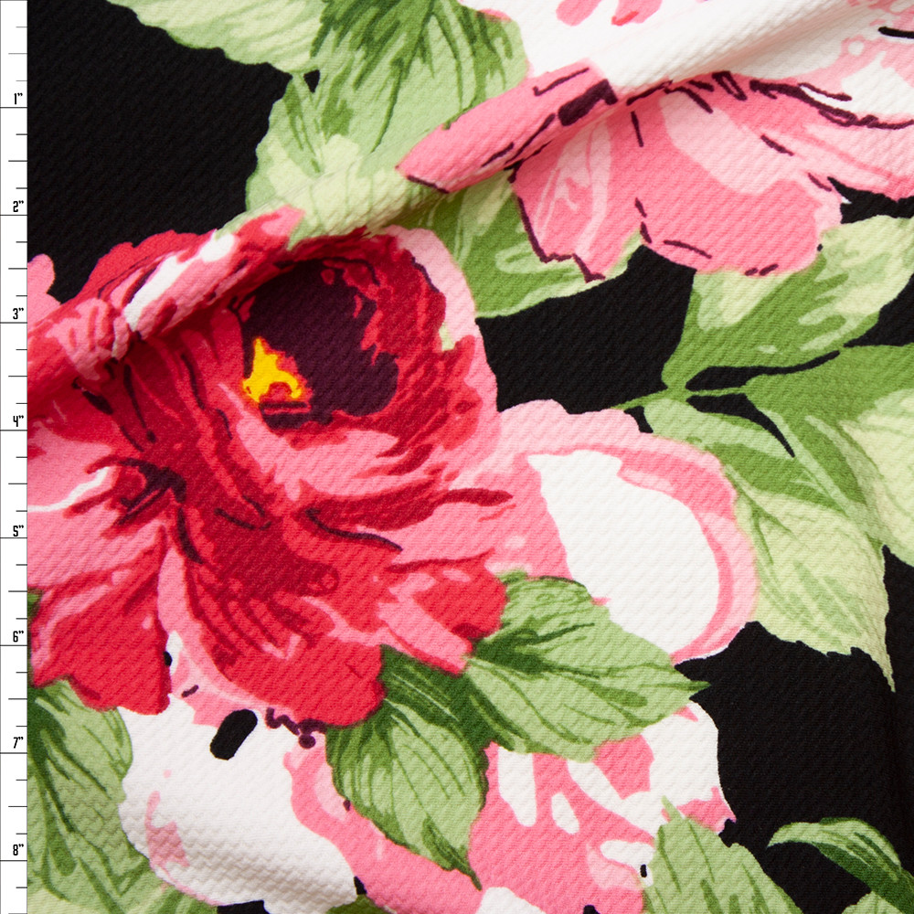 Cali Fabrics Pink Green And Yellow Large Floral On Black Liverpool